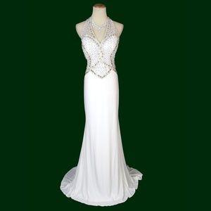 NEW TONY BOWLS White Beaded Bridal Wedding Dress
